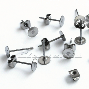 Surgical Stainless Steel Flat Pad Earring Posts With Scrolls